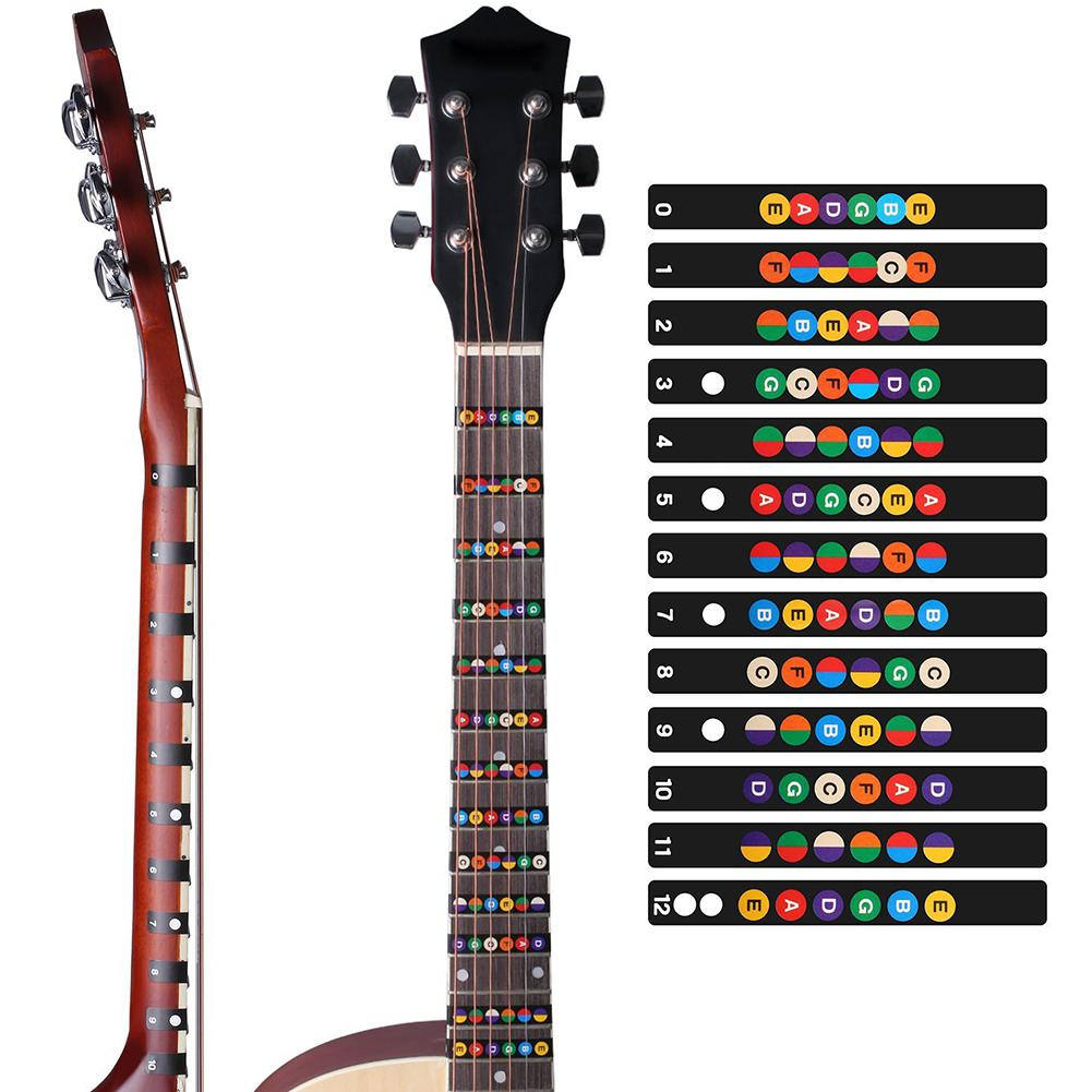 Dragonpad Colorful Guitar Fretboard Note Decal Beginners Fingerboard Sticker Label Map Frets Scale Self Adhesive Stickers