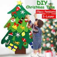 3 camadas diy sentiu árvore de natal conjunto decoração papai noel para crianças da criança brinquedos presentes