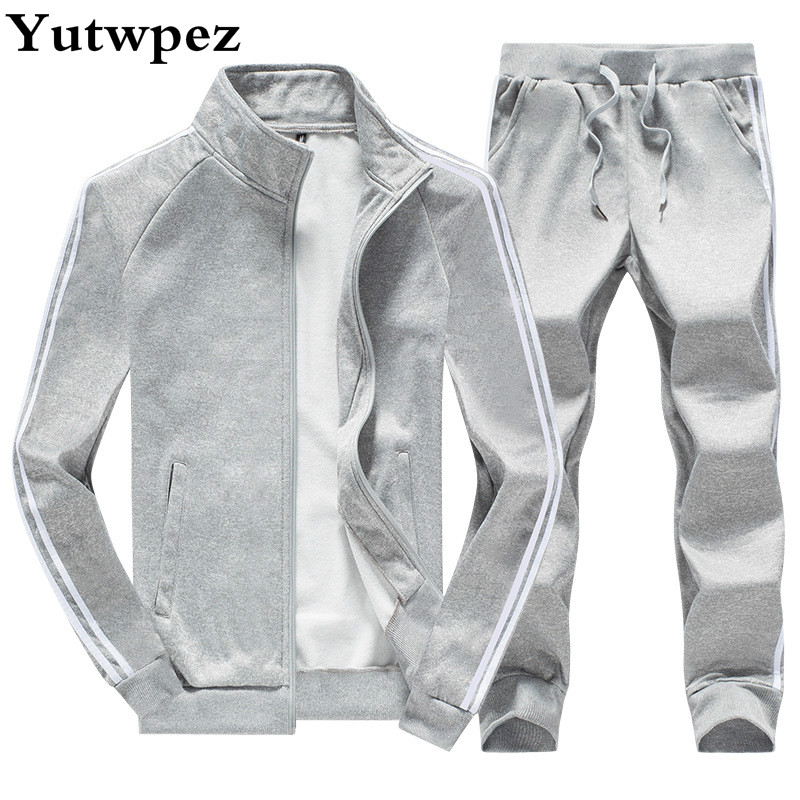 Tracksuit Men Set Sweatshirt Men Sweat New Brand Spring Winter Fleece 2PCS Stand Collar Fleece Patchwork Casual Hoodie Men 2019