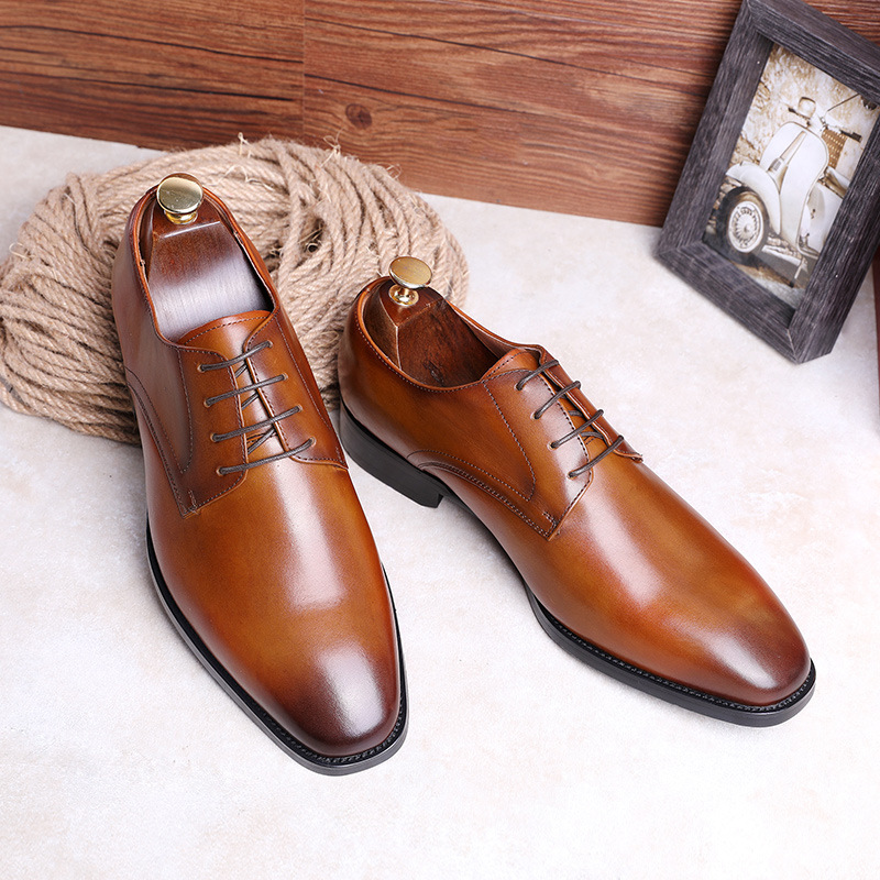 2019 New Men's Genuine Leather Shoes Lace-up Business Shoes Waxing Shoe Full-grain Leather Elegant Handmade Shoes Men