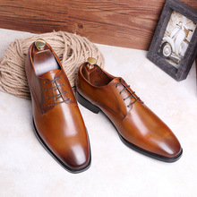 2019 New Men's Genuine Leather Shoes Lace-up Business Shoes Waxing Shoe Full-grain Leather Elegant Handmade Shoes Men цены онлайн