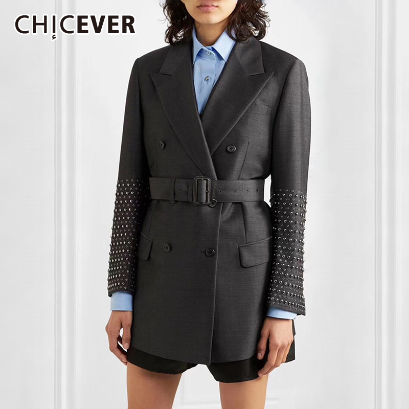 CHICEVER Elegant Patchwork Rivet Women's Blazer Long Sleeve Notched With Sashes Pocket Female Suits 2019 Autumn Fashion New