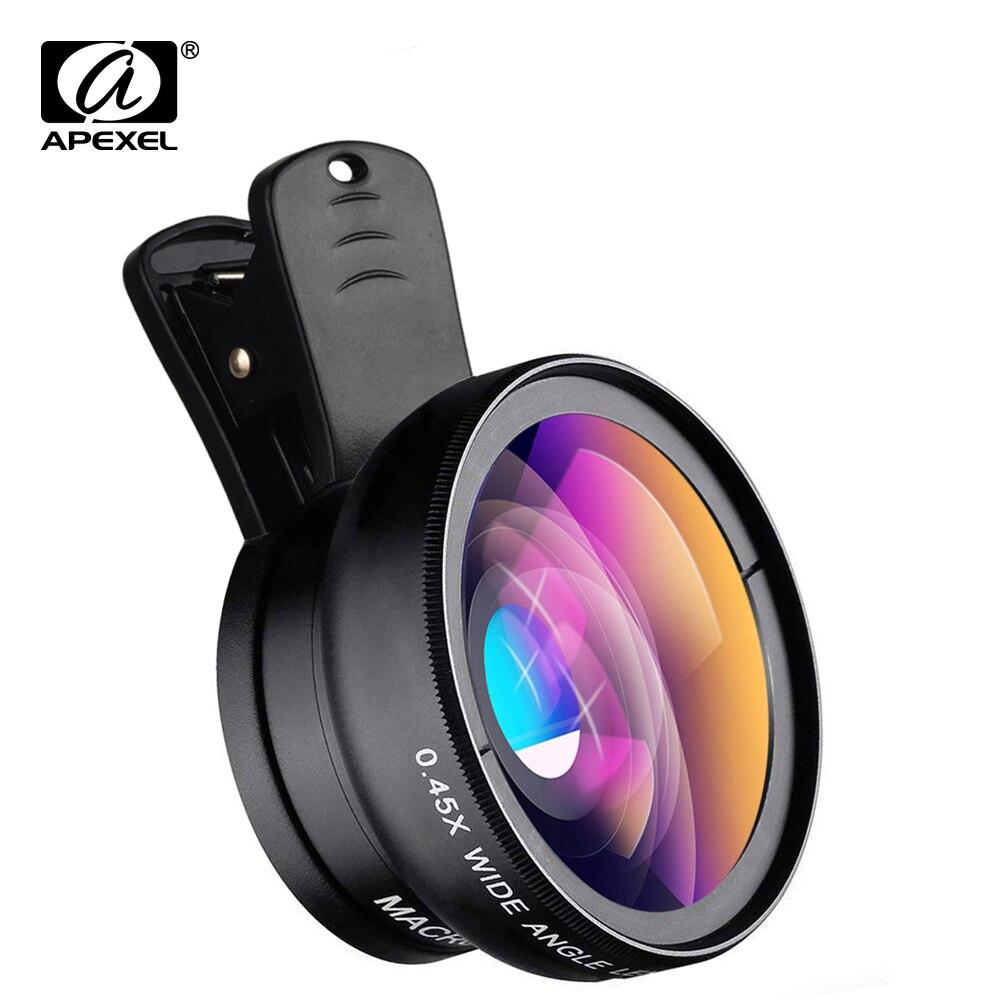 Объектив APEXEL 2 в 1 HD для камеры, супер широкий угол обзора 0,45x и макрообъектив 12,5x для мобильного телефона iPhone 11 Xiaomi Samsung