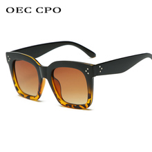 OEC CPO Vintage Oversized Square Sunglasses Women Shades Retro Style Gradient Ladies Female Brand Oculos De Sol  O56