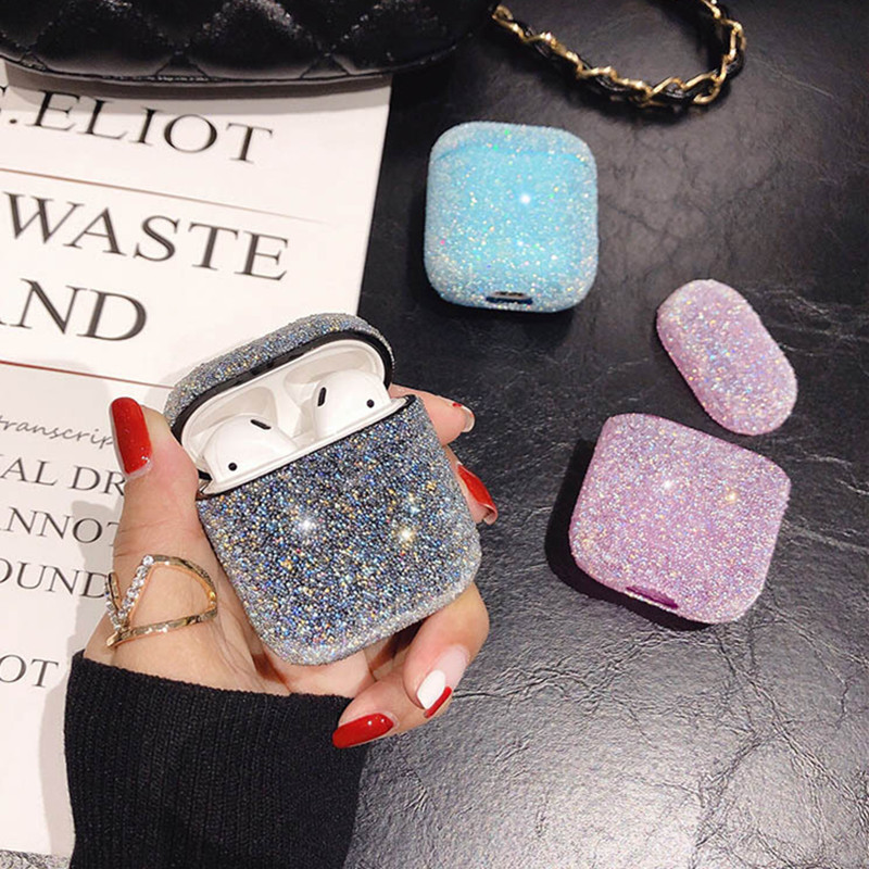 Luxury 3D Bling Glitter Diamonds hard case for Apple Airpods 1 2 Protective Case Headset Earphone Accessories cover Charging box