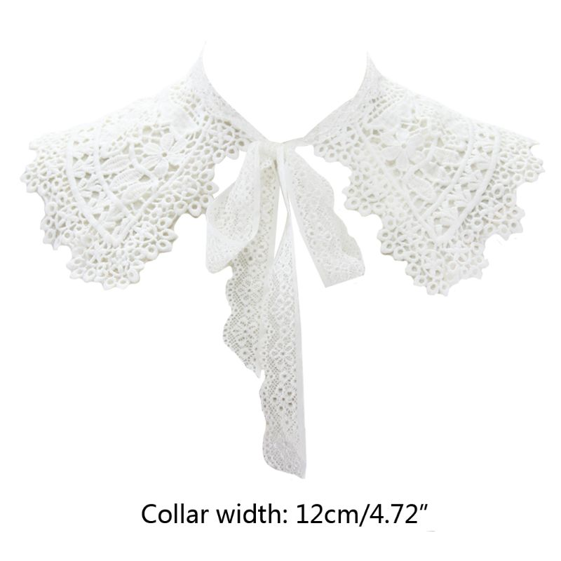 European Pastoral Style Women False Fake Collar Hollow Out Embroidery Floral Lace Half Shirt Shawl With Lace Up Bowtie Necklace