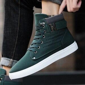 Image 4 - Rahat yüksek üst marka katı tuval erkekler sneaker ayakkabı yeni sıcak kış platformu Sneakers erkekler rahat ayakkabılar Drop Shipping