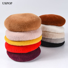 USPOP 2019 New women winter hats female velvet berets thick warm adjustable solid color beret hat