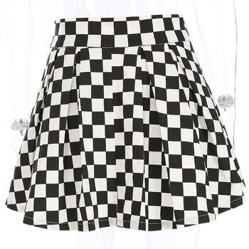 Women Fashion Checkerboard High Waist Skirt 2018 Streetwear Cotton Plaid Skirts Dancing Korean Style Short Mini