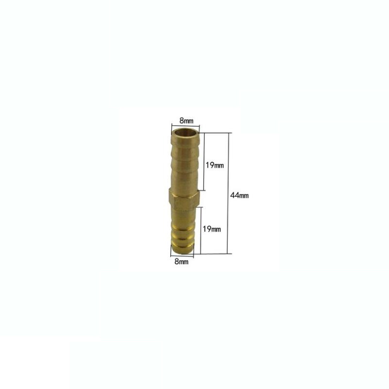 8mm Brass Connector Copper Pagoda Joint Straight-through Type Quick Plug Hose Gas Air Pipe Fitting