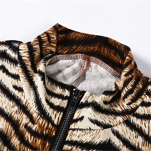 Turtle Neck Women Jumpsuit 2019 Autumn Ladies Sexy Tiger Skin Print Zipper Long Sleeve Jumpsuits Sportswear Overall Women Romper 6