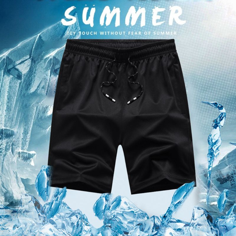 Men Elastic Waist Drawstring Summer Workout Shorts With Zipper Pockets Solid Color Quick Dry Sport Casual Beah Pants