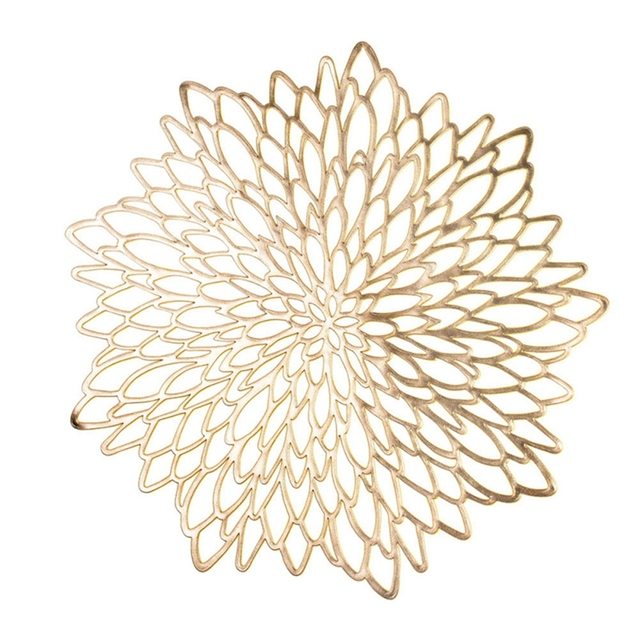 6PCS PVC Placemat for Dining Table Hollow Pad Coaster Pads Table Bowl Mats Gold Dining Table Mats