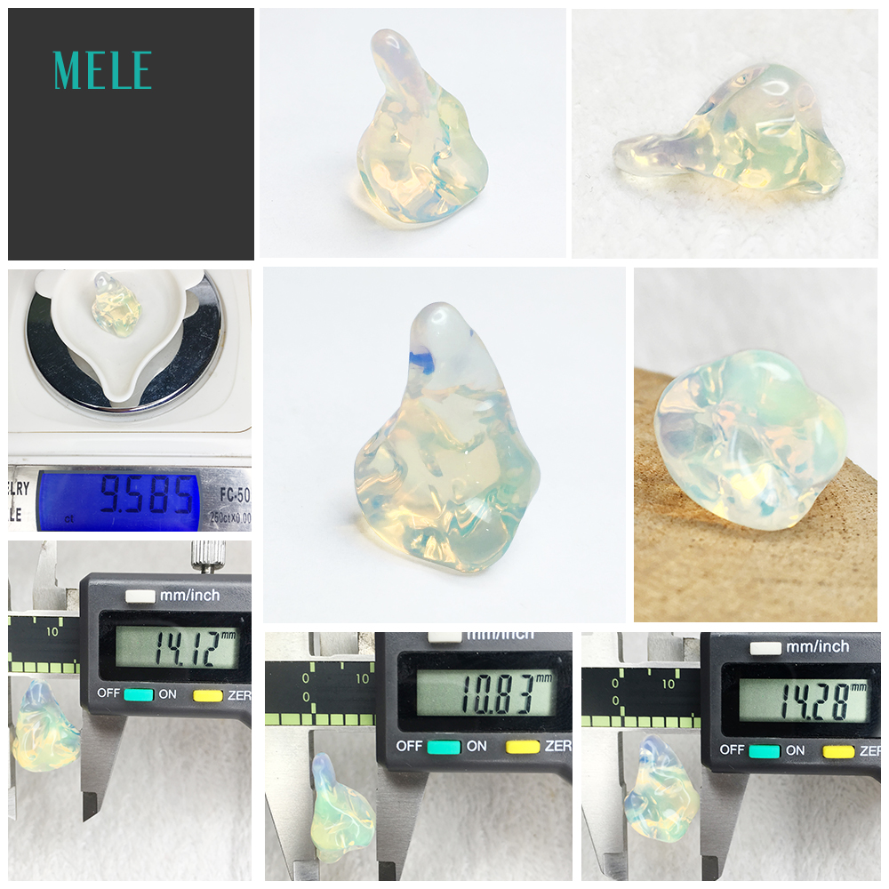 Opale naturelle Alien14 * 10.8*14mm9. 5ct pierre nue bricolage personnalisé pendentif boucle d'oreille anneau avec pierre - 6
