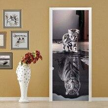 3D Self-adhesive Door Sticker Cat and Tiger PVC Wall Sticker Home Decor Bedroom Door Wallpaper Adhesive Waterproof Sticker