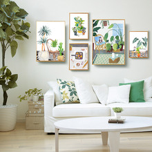 Nordic Poster Plant Succulent Cactus Posters And Prints Green Leaf Wall Art Canvas Painting Pictures Modern Home Decor