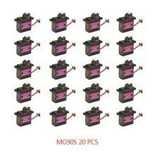 4/5/10/20 pçs mg90s metal engrenagem rc micro servo 13.4g motor para zohd volantex avião para rc helicóptero carro barco modelo de brinquedo controle