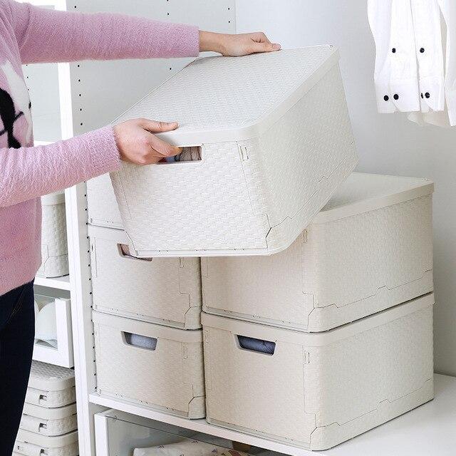 الإبداعية البلاستيك للطي صندوق تخزين خزانة غرفة المعيشة الملابس وجبة خفيفة لعبة أشتات صندوق تخزين مع غطاء درج المنزل المنظم