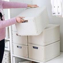 Kreative Kunststoff Falten Lagerung Box Kleiderschrank Wohnzimmer Kleidung Snack Spielzeug Kleinigkeiten Lagerung Box mit Deckel Hause Schublade Veranstalter