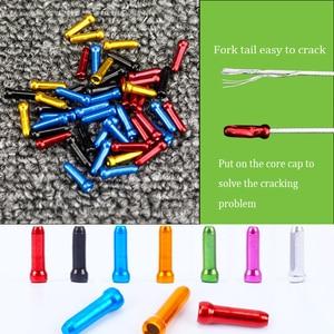 Tampas de cabo de bicicleta 50 peças/lote, liga de alumínio mtb bicicleta de estrada tampa do cabo de freio tampa de extremidade do fio serve para cabo de desviador de câmbio
