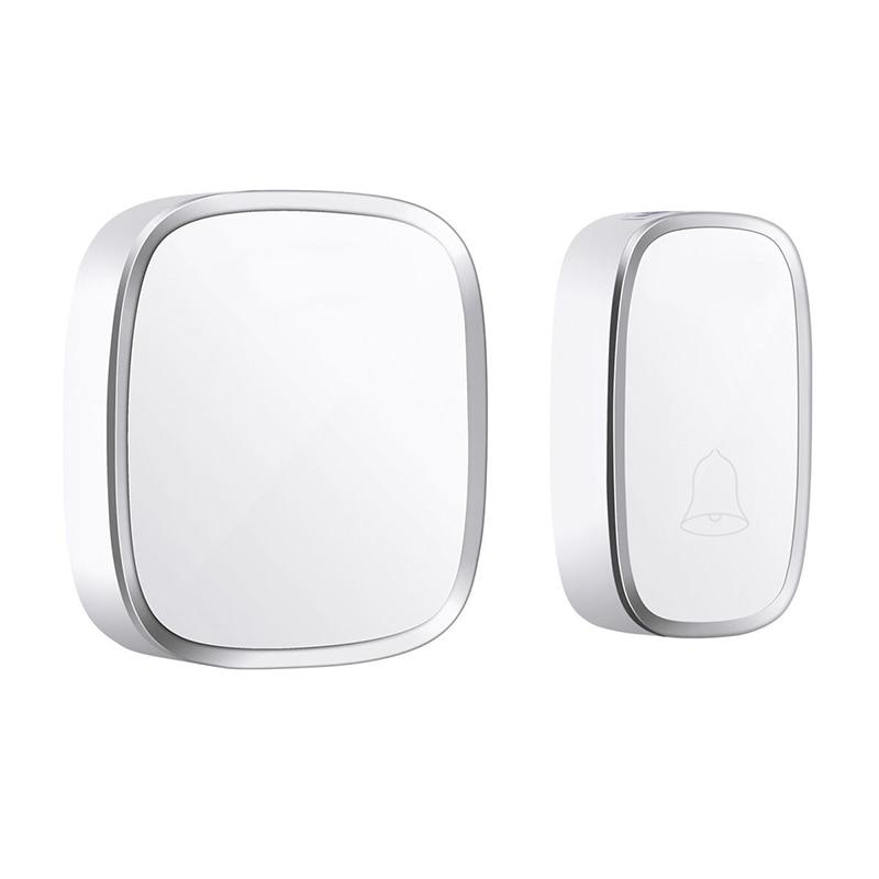 ABKT-Ip44 Waterproof Wireless Doorbell 280M Range Smart Home Door Bell Chime Ring 1 Button 1 Receiver Vc110-220V(Eu Plug)