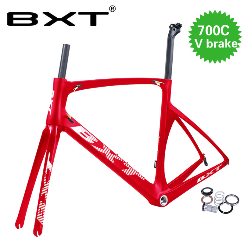 BXT 2019 V Brake Road Frame 49 52 54 56cm UD Carbon Road Frame Carbon Bicycle Frame With Fork Hidden Brake Road Carbon Frame