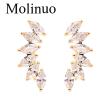 Molinuo 2019 new design creative single row shines oval six zircon earrings generous minimalist earrings gift for women polyscience single row six hole pointer shanghai set