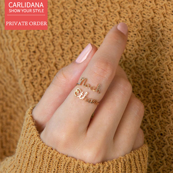 CARLIDANA Private Custom Double English Letter Open Ring Index Finger Ring 14K Gold-plated Couple  Pair Ring Birthday Gift gold plated embellished ring set