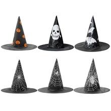 Halloween Cosplay Hat Pumpkin Witch Spider Web Wizard Dress Costume