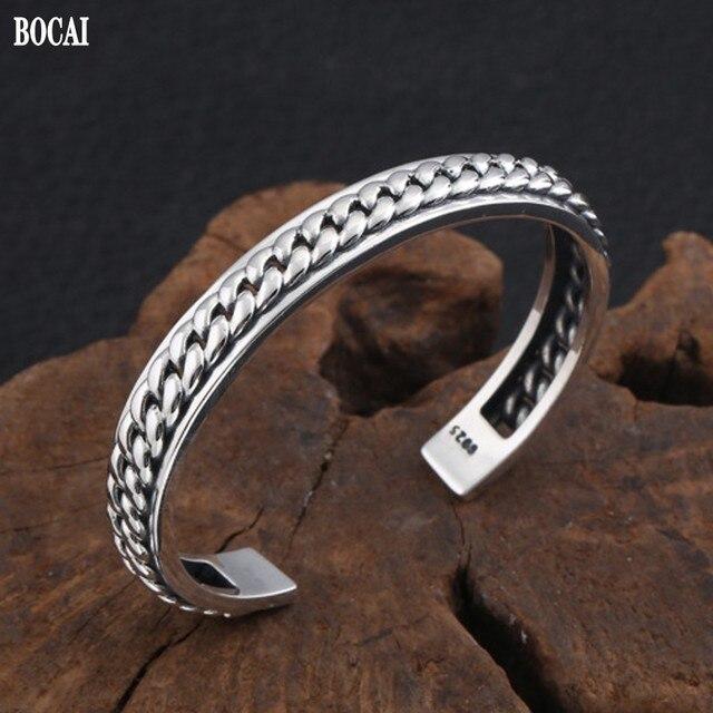 New s925 sterling silver jewelry trendy fashion man and women bracelets korean version 925 silver simple woven open bracelet