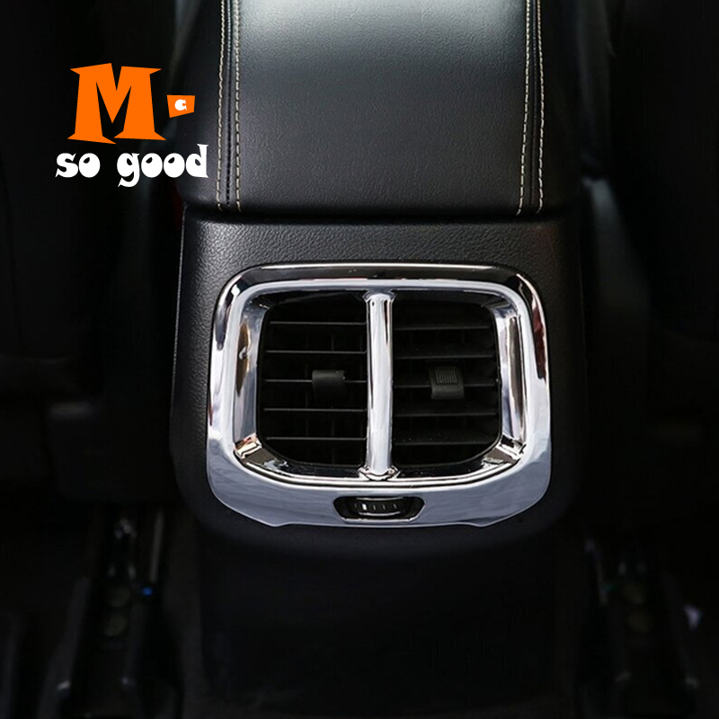2014 2015 2016 2017 2018 For Jeep Cherokee KL Car ABS Chrome Rear Air Conditioner outlet Vent frame Panel Cover Trim Accessories