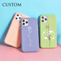 Nombre personalizado y corona corazón rosa para iPhone 12 Pro Mini 6 7 8 Plus X XS X Max XR SE 2020 caja del teléfono de silicona Coque DIY 11 Pro Funda