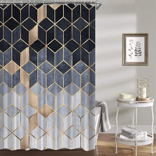 Geometric Printed Shower Curtain for Bathroom with hook 3D marble pattern Hexagons Waterproof Polyester Fabric Bathroom Curtain