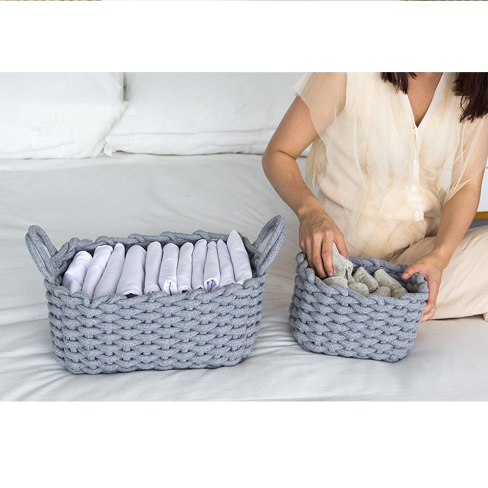 Fashion Desktop Sundries Finishing Box Fabric Laundry Toys Small Organizer Box Handmade Cotton Rope Storage Basket