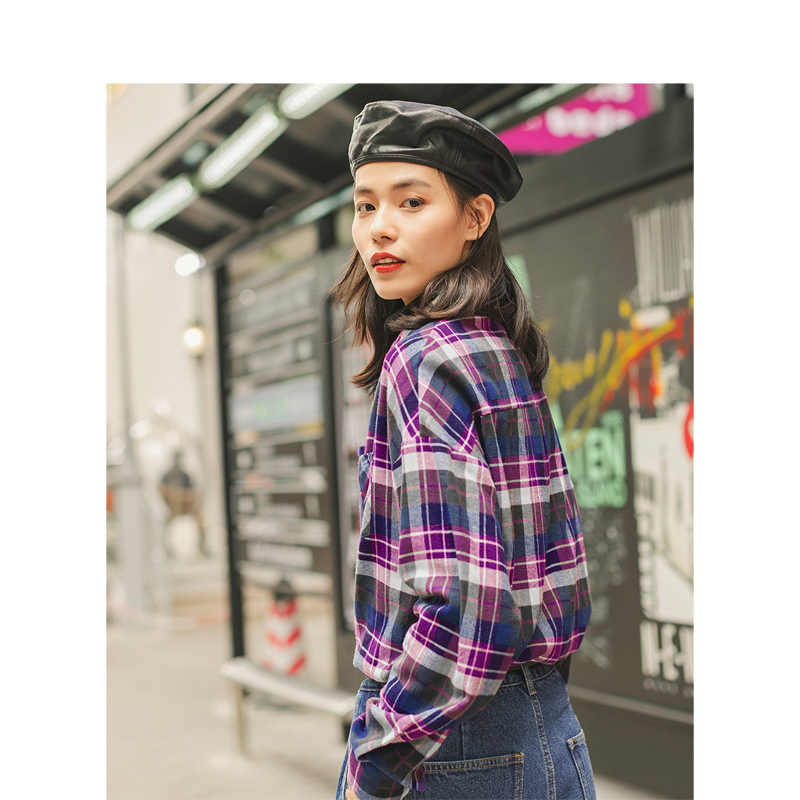 Inman 2019 Musim Dingin Baru 100% Katun Flanel Kerah Fashion Semua Cocok Blue-Purple Plaid Blus Wanita