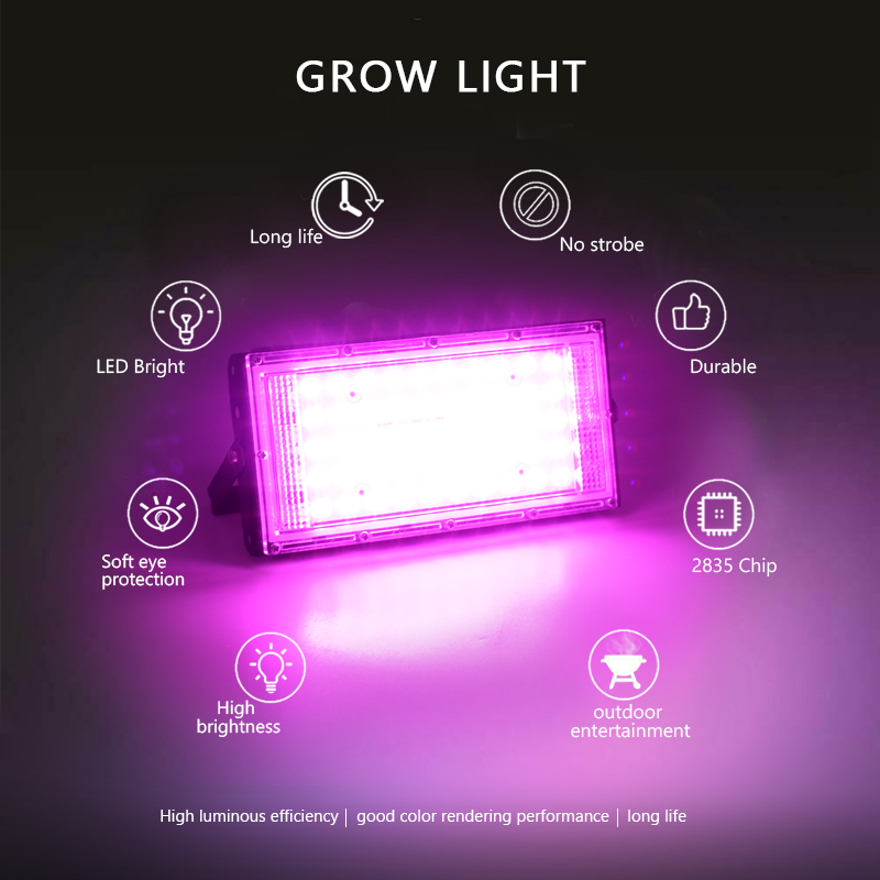 LED Grow Light Full Spectrum 50W AC 220V Phyto Lamp For Plants Tent Flower Seeding Lamp Indoor Outdoor Led Floodlight Grow Box 5