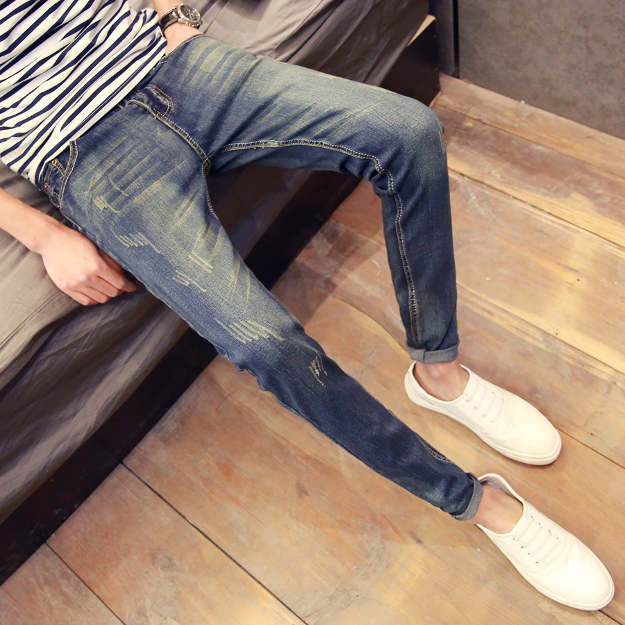 Men's Jeans Men Korean-style Slim Fit Elasticity Skinny Pants Youth Autumn New Style Men's Trousers Fashion