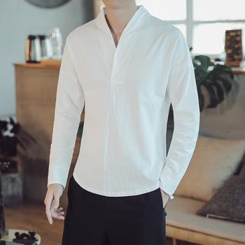 M-5XL zwykły kolor jesień z długim rękawem tradycyjna chińska bluzka V-Neck tradycyjna chińska odzież dla koszula męska mężczyzna XXXXXL tanie i dobre opinie COTTON Pościel Topy Suknem Chinese Linen Shirt 4 Colors Male Spring Autumn 12 Years Old or more Hangzhou China Daily Street Wear