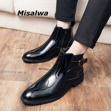 Men British-Shoes Boots Winter/spring Bright Toe Patent Sharp Misalwa Italian Zip