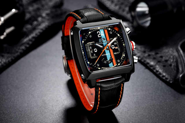 Automatic Self Wind Mechanical Genuine Leather Stainless Steel Black Orange Blue Casual Perspective See Through Men Watch 3