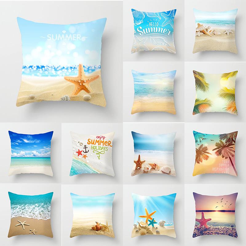 Novo Verão Tropical Praia Azul Fronha Capas Concha Starfish Palma Impressão Sofá Almofadas Caso Moderno Simples Sala De Estar Lance Travesseiros Capa De Almofada Aliexpress
