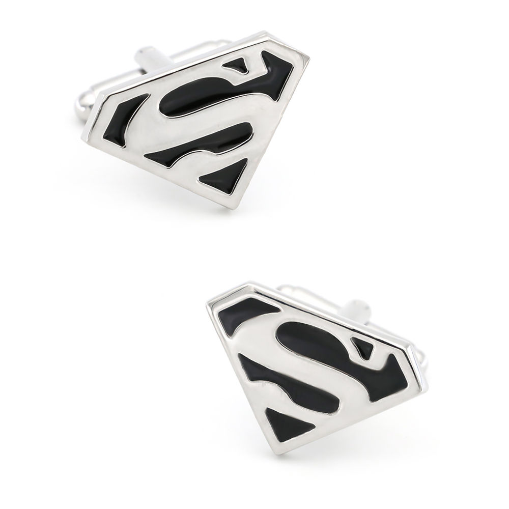 Superheroes Design Superman Cufflinks Quality Brass Material Black Color Cuff Links Wholesale & Retail