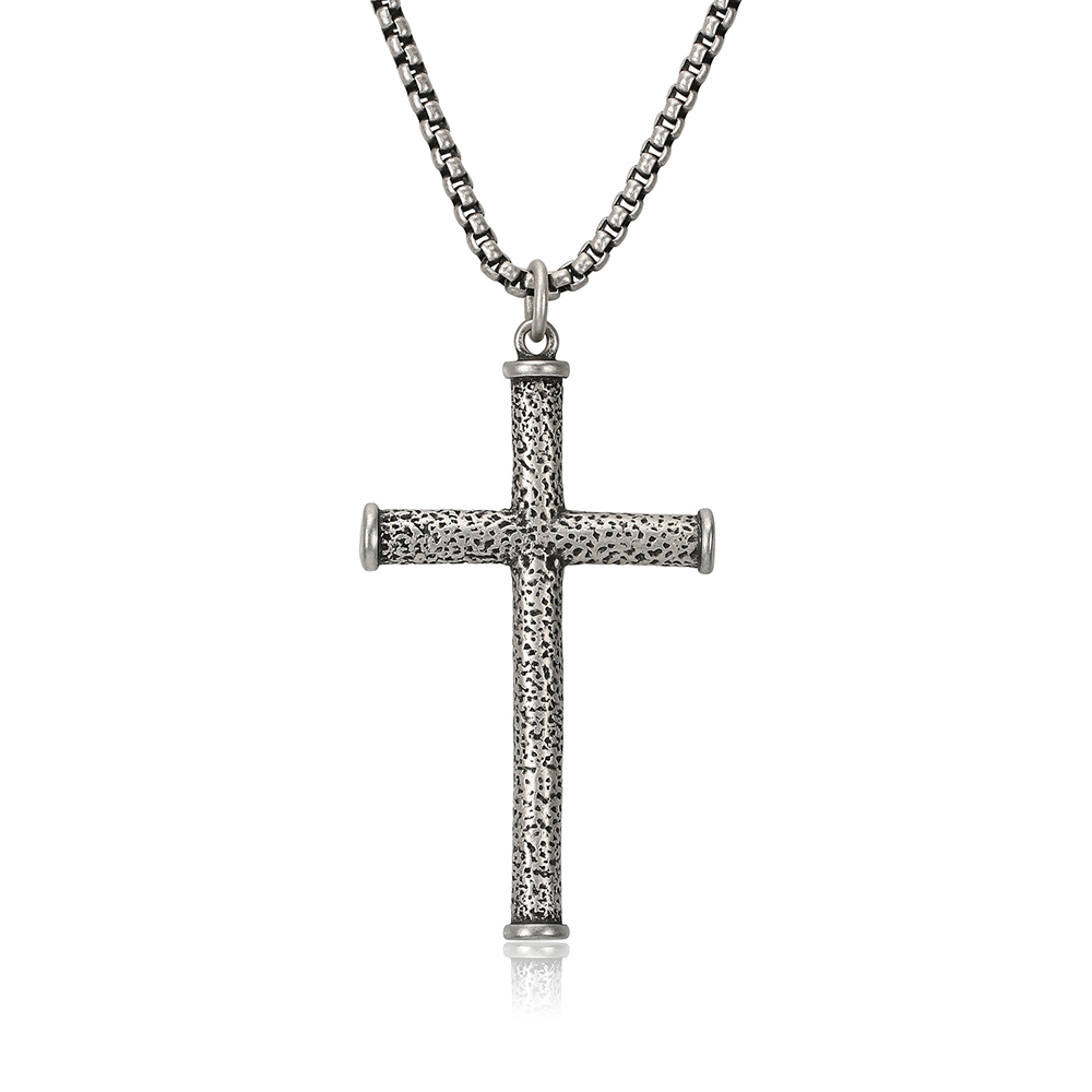 BOFEE Stainless Steel Cross Chain Necklace Punk Long Choker Pendant Vintage Charm Geometric Fashion Jewelry Gift For Male Women
