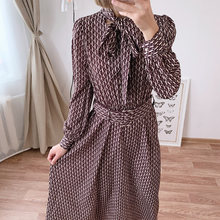 Женское шифоновое платье с бантом на шее Элегантное Длинное