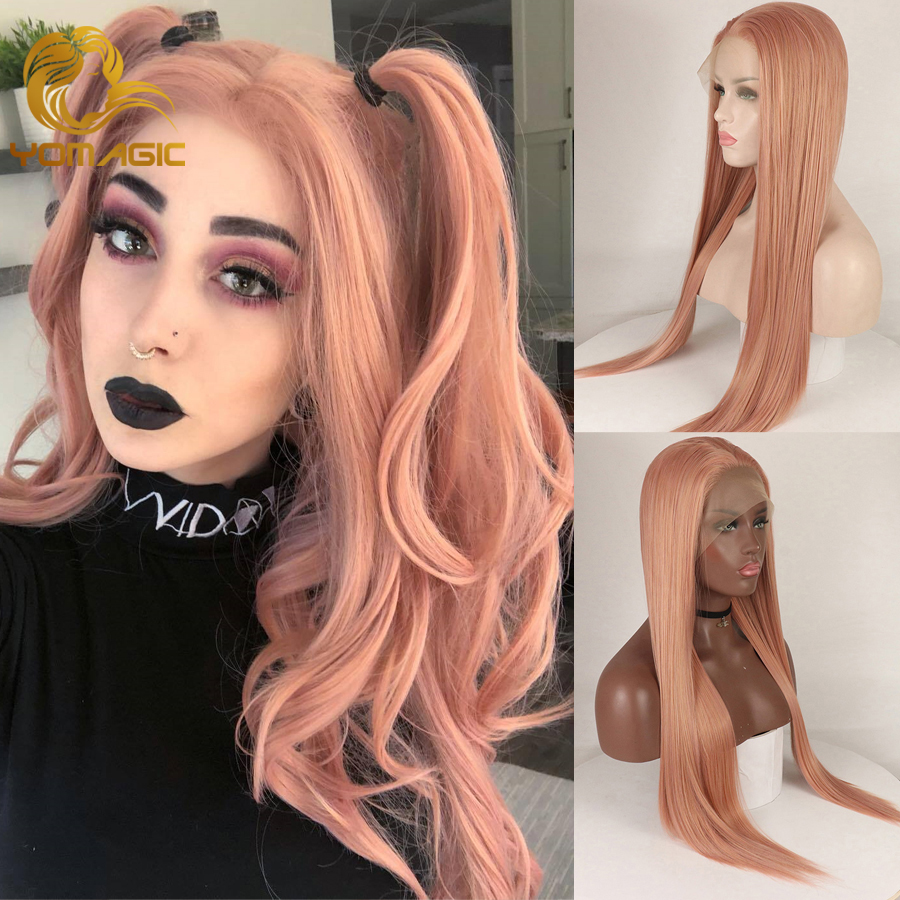 Yomagic Hair Rose Pink Synthetic Hair Wigs With Natural Hairline Natural Looking Silk Straight Affordable Glueless Lace Wigs