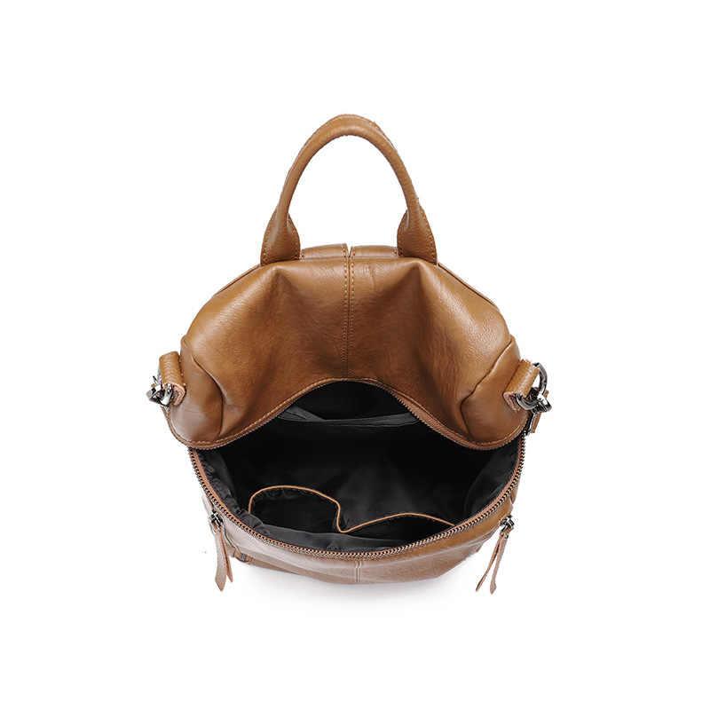 Кожаный рюкзак для женщин на молнии Рюкзак Студенческая школьная сумка для подростков девочек большие повседневные дорожные сумки mochila feminina C1140