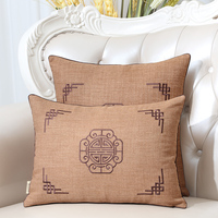 Latest Embroidery Joyous Linen Cover Cushion Case Christmas Decorative Lumbar Pillow Covers Chinese style Pillow Cover