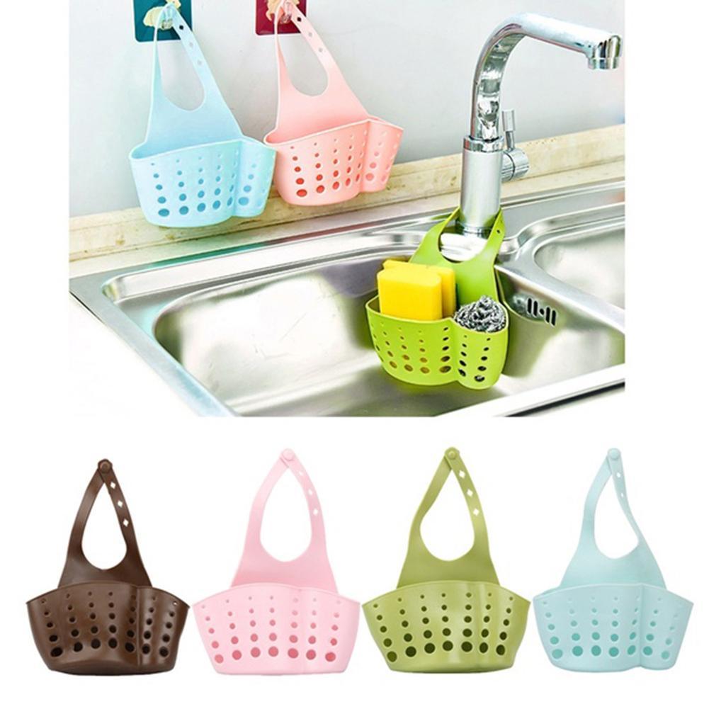 Portable Kitchen Hanging Drain Bag Storage Basket Sink Holder Organizer Rack