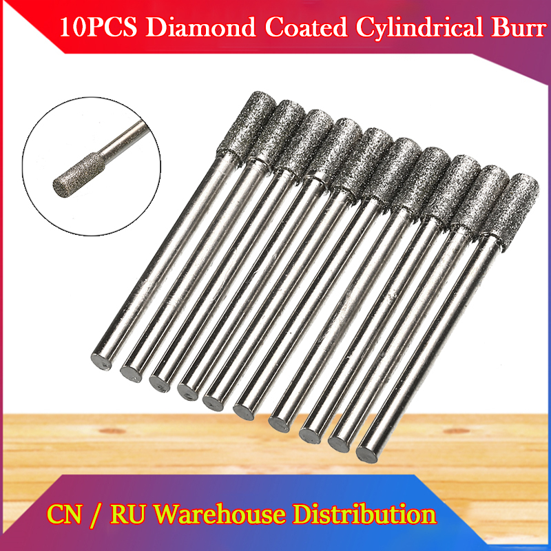 10PCS Diamond Coated Cylindrical Burr 4mm Chainsaw Sharpener Stone File Chain Saw Sharpening Carving Grinding Tools