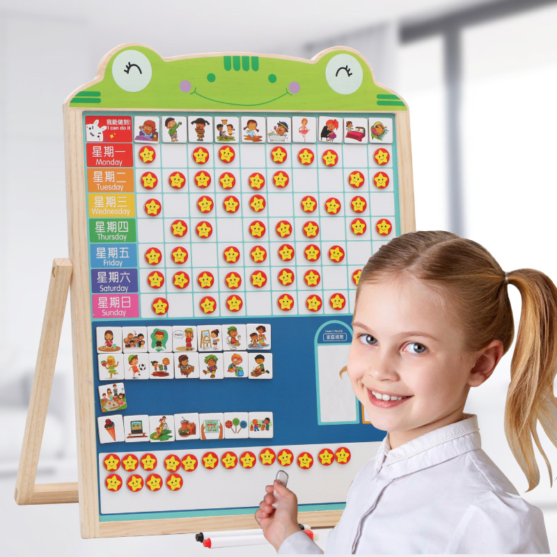Children Multi-functional Sided Magnetic Drawing Board Baby Chastened Useful Product Habits Plan Learning Self-Discipline Table